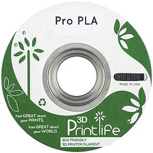 3D Printlife Pro PLA 1.75mm Black, 1KG of Premium Impact Modified PLA 3D Printer Filament, Dimensional Accuracy < +/-=