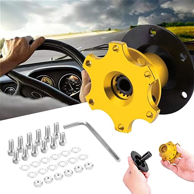 6.6 x 8 cm Steering Wheel Hub Quick Release Gold Steering Wheel Hubs Sports Steering Wheel Quick Release for Car