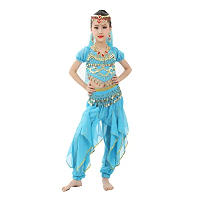 Girls Halloween Costume Set - Kids Belly Dance Halter Top Pants with Jewelry Accessory for Dress Up Party: Clothing