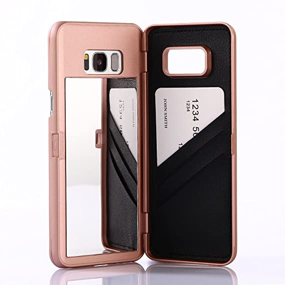 watch a839a 7f63f W7ETBEN Galaxy S8 Case, Hidden Back Mirror Wallet Case with Stand Feature  and Card Holder for Samsung Galaxy S8 (Rose Gold)