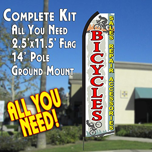 bicycles-sales-repairs-accessories-white-red-flutter-feather-banner-flag-kit-flag-pole-ground-mt