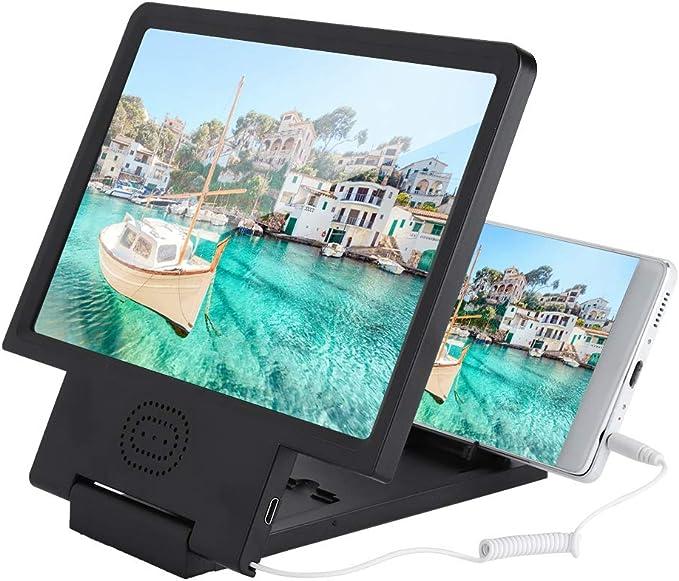 Mugast Amplificador de Pantalla de Teléfono Móvil con Audio Diseño de Lente Optica de Alta Definición para Todos los Tipos de Teléfonos Móviles Uso como Una Lupa Tradicional Ligera y Portátil(Negro): Amazon.es: