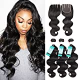 DU Hair Brazilian Body wave with Closure 3 Bundles Brazilian Virgin Hair with 3 Part Lace Closure 100% Unprocessed Human Hair Bundles Review