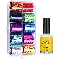 AIFAIFA Pegatinas de lámina de uñas, holográficas, metálicas, de cristal de color,