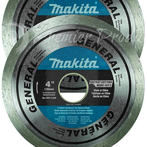 Makita 2 Pack – 4″ Continuous Diamond Blades For 4″+ Grinders & Circular Saws – Precise Cutting For Tile, Porcelain & Stone – 5/8″, 20mm & 7/8″ Arbors