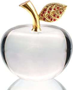 Xinkulas Clear Glaze Crystal Apple Paperweight Craft Decoration 2.4 Inches
