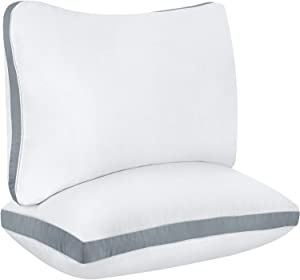Utopia Bedding Cotton Gusseted Pillow (2-Pack) - Luxury Side Sleeper Pillows for Sleeping - Bed Pillows Queen (18 x 26 inches) - Grey