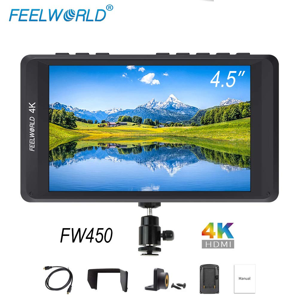 FEELWORLD FW450 4.5 inch Small 4k On Camera DSLR Field Monitor with 1200x800 HDMI Input and Out, IPS Screen Wild View Ultra-Light Monitoring Small hd Focus Monitor for by FEELWORLD