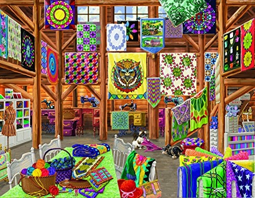 1000 Large Piece Jigsaw Puzzle - Quilts, Quilts, Quilts - Made in the USA (Sale For Quilts Colorful)