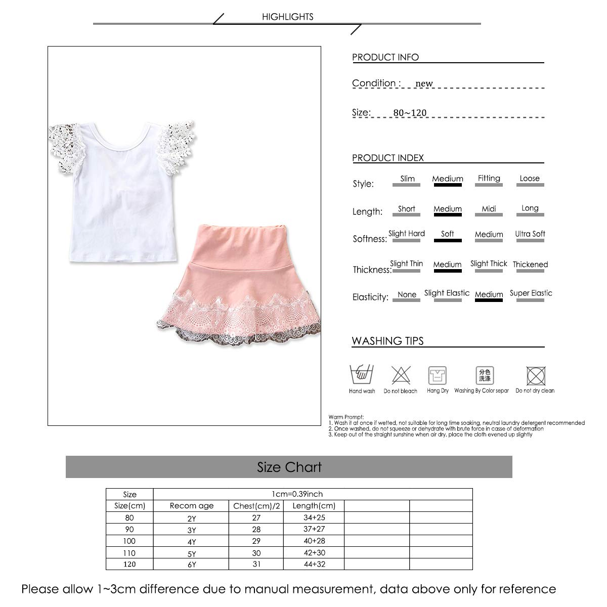 2-6T Girls Pink Shirt with Bowknot Mini A-line Skirt Summer Casual Clothes Set
