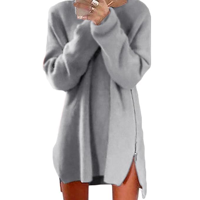 Vococal - Vestidos Largos para Mujer, Otoño Casual Jersey de Mango Larga con Tapas Laterales de la Cremallera, Color sólido: Amazon.es: Ropa y accesorios