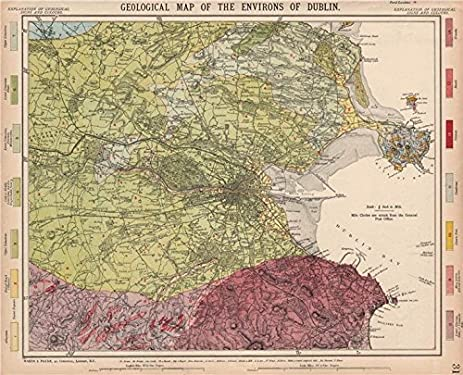 geological map of the environs of dublin ireland letts 1889 old map
