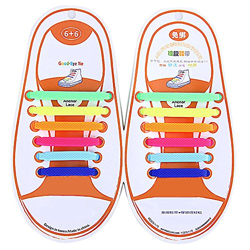 Adults Multicolor Tieless Elastic Silicone No Tie Shoelaces Waterproof Rubber Flat Running Shoe Laces for Sneakers Board Shoes Casual Shoes and Boots Kid Rainbow (Boots Board)