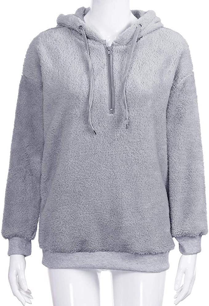 ZIYOU Frauen Warme Flauschige Hoodie Sweatshirt Tops, Damen