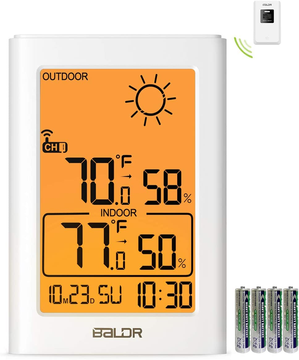 Weather Station, Indoor Outdoor Thermometer Hygrometer with Remote Sensor, Digital Wireless Temperature and Humidity Monitor with Weather Forecast, Date/Time Display, Alarm Clock, Backlight (Orange)