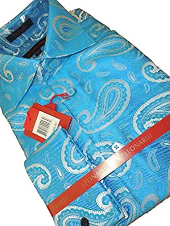 Leonardi 370 Mens High Collar French Cuff Shirt Aquamarine