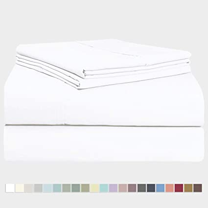 Pizuna 400 Thread Count Queen Cotton Sheets Set White, 100% Long Staple  Cotton Sheet Set, Soft Cotton Bed Sheets Deep Pocket fit Upto 15 inch  (White