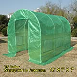 Quictent Portable Greenhouse Large Green Garden Hot House More Size (12' X 7' X 7')