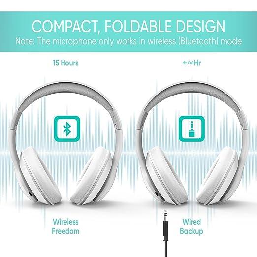 SoMi - Auriculares inalámbricos con cable Bluetooth con micrófono integrado, auriculares estéreo de alta fidelidad, cabezal superior, auriculares de diadema ...