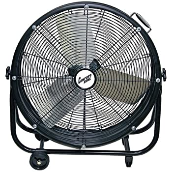 "Comfort Zone Industrial Drum Fan | 24"" Barrel Direct Drive - 2 Speed, All Metal, High Velocity Fan"