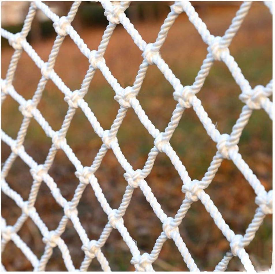 白いロープネット壁装飾ネット子供階段アンチ落下ネット階段パティオスバルコニーアンチ猫ネット、遊び場スイング屋外登山ネット(間隔:5 cm、10 cm) (Color : 5cm/5mm, Size : 4*5m) 5cm/5mm 4*5m