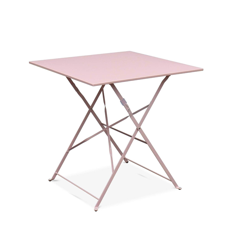 Salon de Jardin bistrot Pliable - Emilia carr/é Bleu gris/é - Table ...