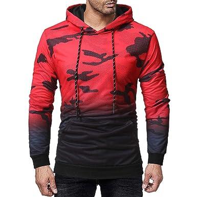 7216ad3cfd846 Vetement Homme Vtops Sweat-Shirt à Capuche à Capuche à Manches Longues pour  HommesSweat-Shirt Long Homme Noir Rouge M-XXL  Amazon.fr  Vêtements et ...