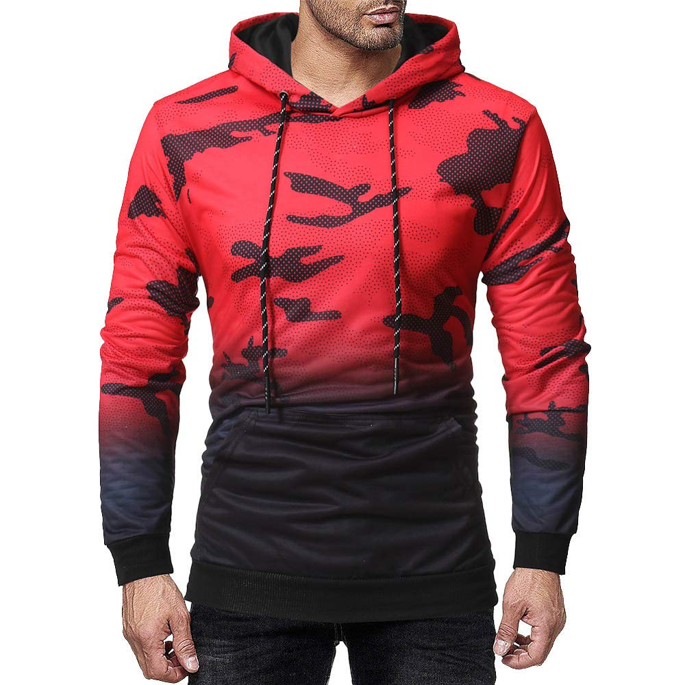 iLXHD Long Sleeve Camouflage Hoodie Hooded Sweatshirt Top Tee Outwear Blouse(Red,2XL)