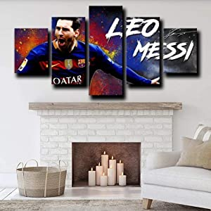 Wall Art Framed Frameless Sports Wall Decor Poster for Living Room Bedroom Home Decor Hall Fc Barcelona Forward La Purga Lionel Messi 5 Piece Canvas Wall Pictures