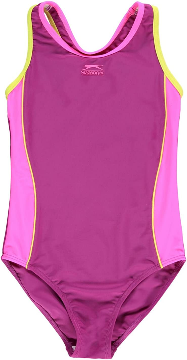 GIRLS JUNIORS BLACK SLAZENGER RACER BACK SWIMMING SUIT SWIMSUIT SWIMMING BEACH