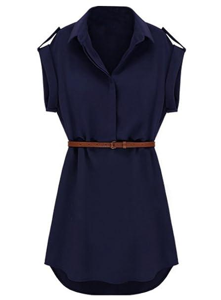 sheinside® Mujer vestido de gasa transparente, color azul marino azul marino large