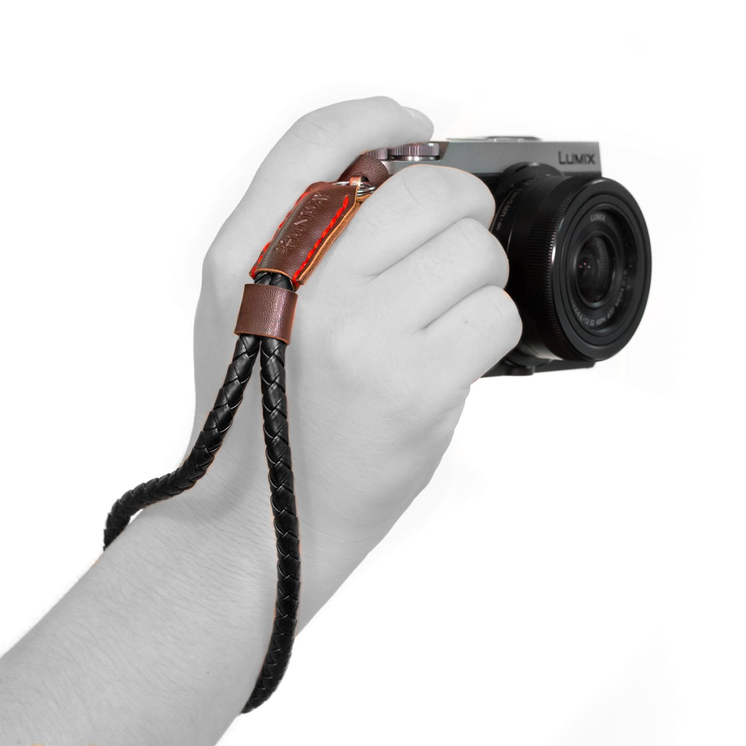 MegaGear MG934 Leather Woven Wrist Strap Comfort Padding, Enhanced Hand Grip Stability and Security for All Cameras (SLR/DSLR) One Size Fits All, Dark Brown