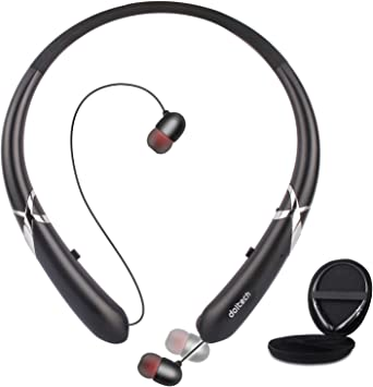 Bluetooth Headphones Doltech Bluetooth 5 0 Neckband Headphones Noise Cancelling Headset With Carrying Bag Retractable Earbuds Stereo Earphones With Mic Black Amazon Ca Electronics