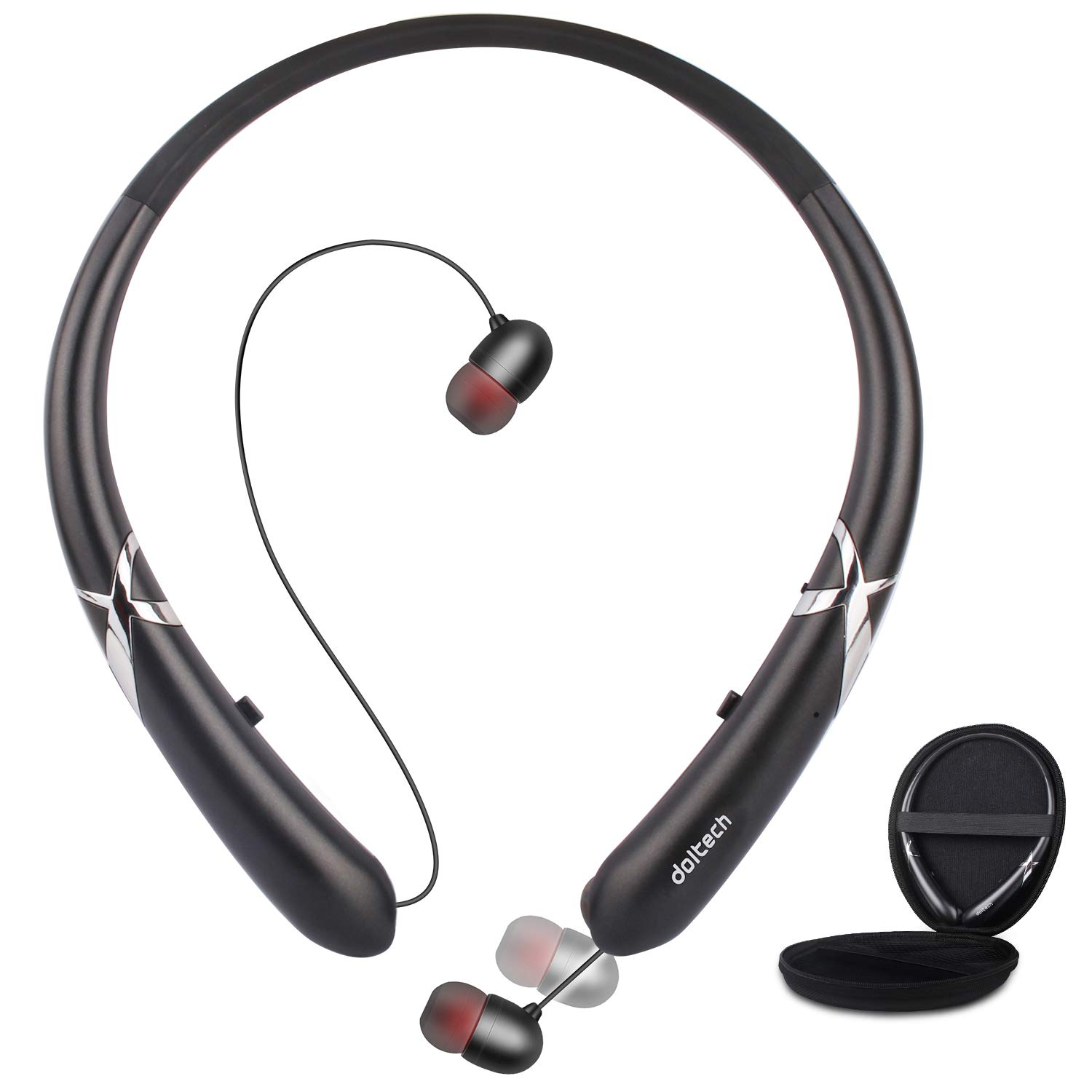 Bluetooth Headphones, Doltech Bluetooth 5.0 Neckband Headphones Noise Cancelling Headset with Carrying Bag Retractable Earbuds Stereo Earphones with Mic Black