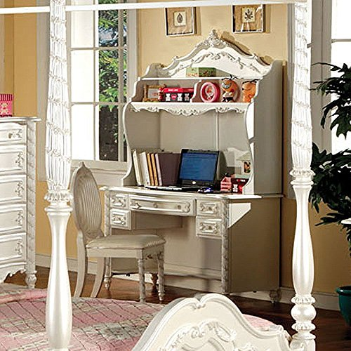 Simple Relax Alexandra Fairy Tale Princess Bedroom Youth Writing Study Desk Hutch Pearl White Model: Desk + ()