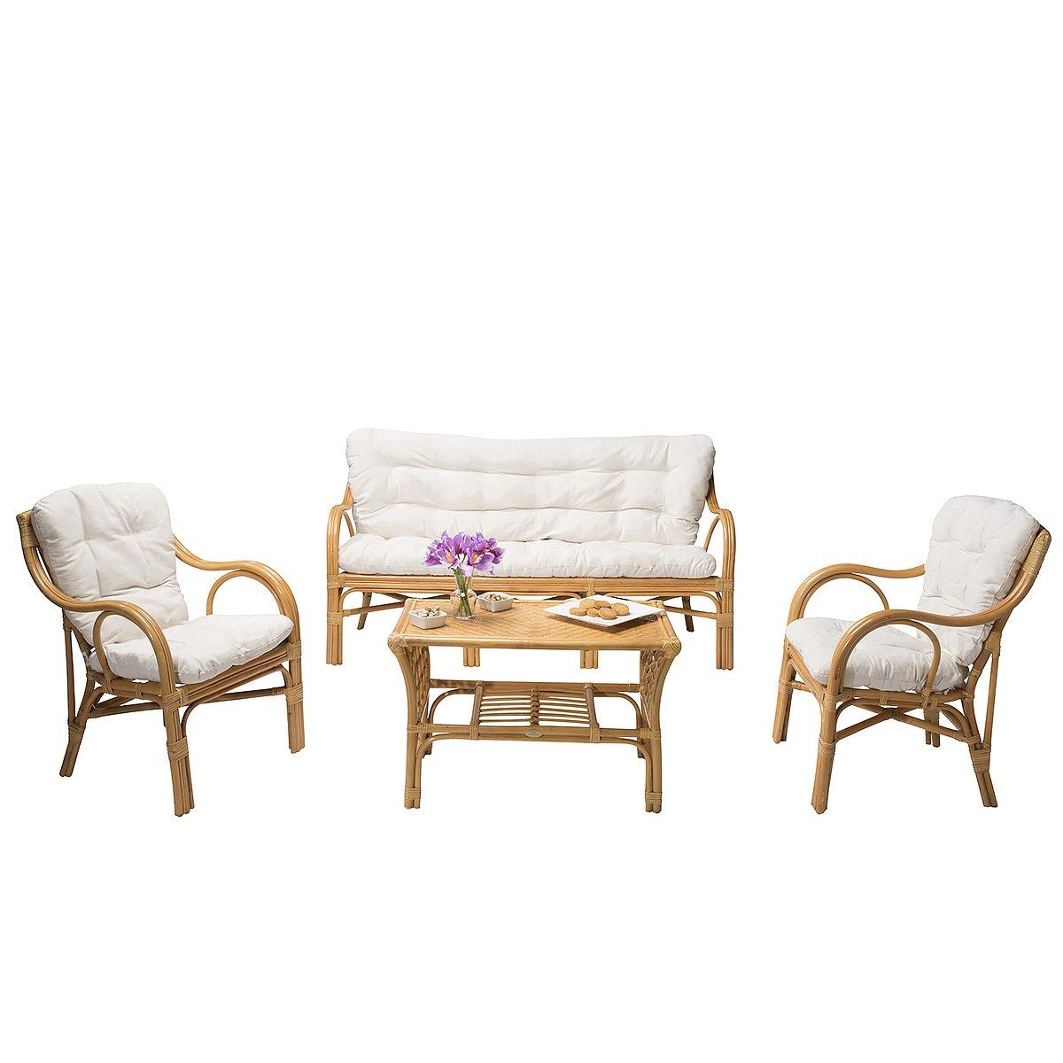 Rattan-Möbel Set ELIM - inkl. Polsterauflagen - Honig/Weiß