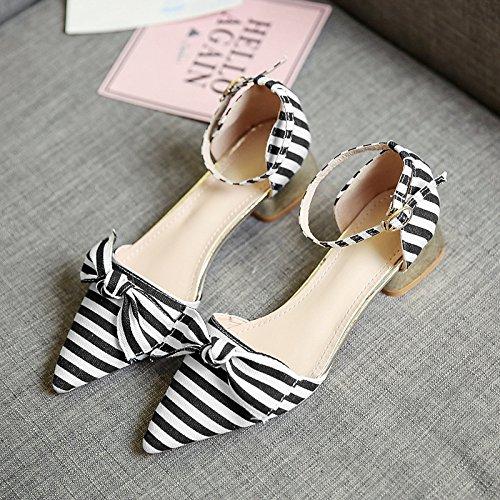 RUGAI-UE Sandalias de Verano Mujer rayas color hebilla zapatos arco Black