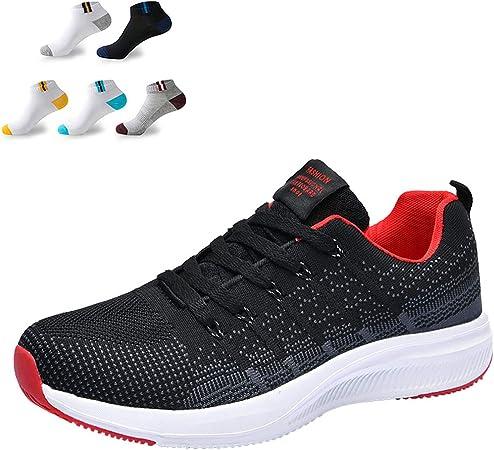 XFQ Zapatos De Correr Ligeras De Los Hombres, Zapatillas De Deporte De Acoplamiento Ocasional del Athletic Amortiguación Transpirable Caminar Gimnasio Formadores,Rojo,39EU: Amazon.es: Hogar