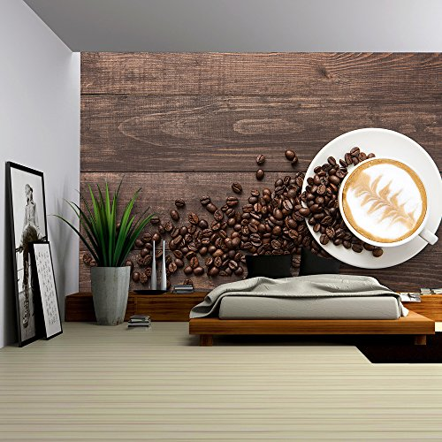 Coffee Cup and Coffee Beans on Wooden Background Top View
