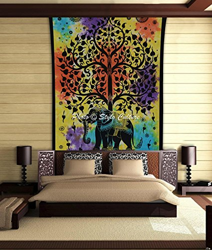Stylo Culture Elephant Mandala Tapestry Cotton Multi Color Twin Printed Tie Dye Floral Wall Hanging Throw Beach Rug, Picnic Rug, Wall Decoration, Room ()