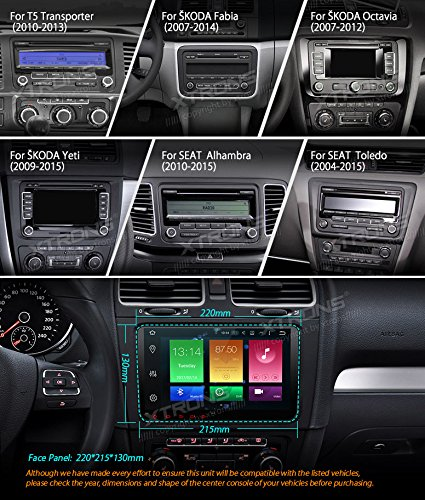 XTRONS Android 6.0 Octa-Core 9 Inch Capacitive Touch Screen Car Stereo Radio DVD Player Screen Mirroring Function OBD2 Tire Pressure Monitoring for VW Caddy Golf 2003-2013 Reversing Camera Included by XTRONS (Image #3)