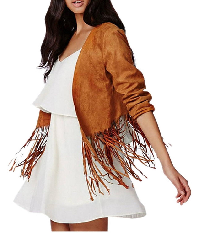 Woo2u Women Long Sleeve Faux Suede Collarless Open Front Tassels Coat