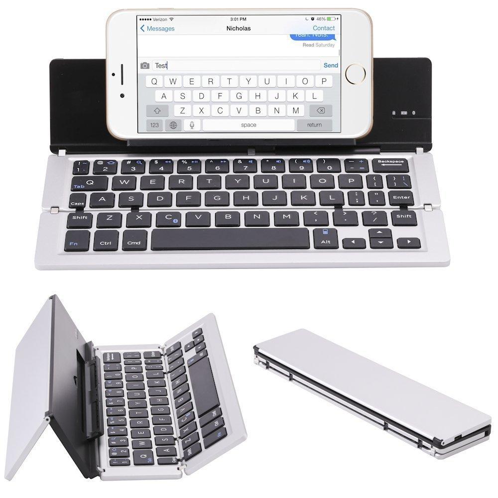 ElementDigital Portable Bluetooth Keyboard Wireless Foldable Keyboard Universal with Phone Stand for New 2017 iPad 9.7, iPad Air, iPad Air 2, iPad Pro 9.7 iOS Android Windows Tablet Phones (Silver)
