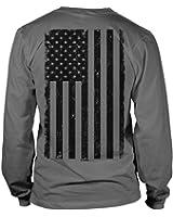 Tcombo Big Black American Flag Long Sleeve Mens T-Shirt Tee