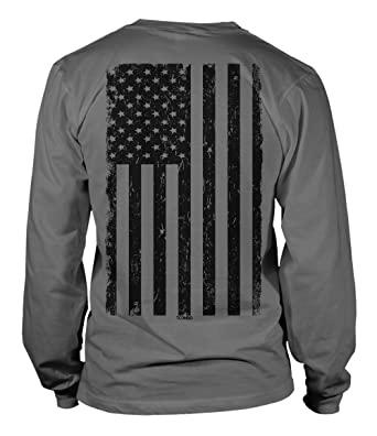 Tcombo Big Black American Flag Long Sleeve Mens T-Shirt Tee (Small, Charcoal