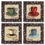 Cup of Joe Vintage Coffee Art Print Posters by Paul Brent, 12 x 12, Set of 4