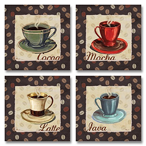 Cup of Joe Vintage Coffee Art Print Posters by Paul Brent, 8x8 Set of 4 MDF Mounted Prints; Ready to hang!