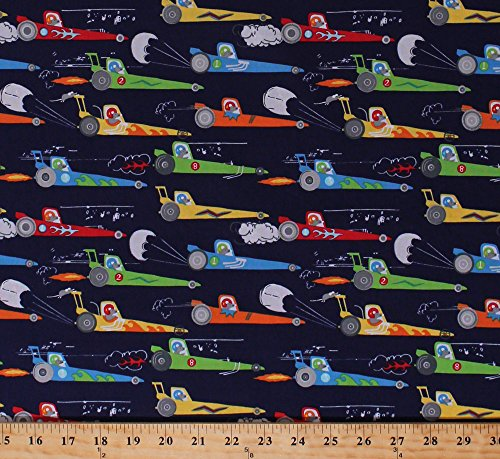 (Cotton Racecars Race Cars Dragsters Rats Racing Rat Race Redux Navy Blue Cotton Fabric Print by The Yard (CX7338-NAVY-D))