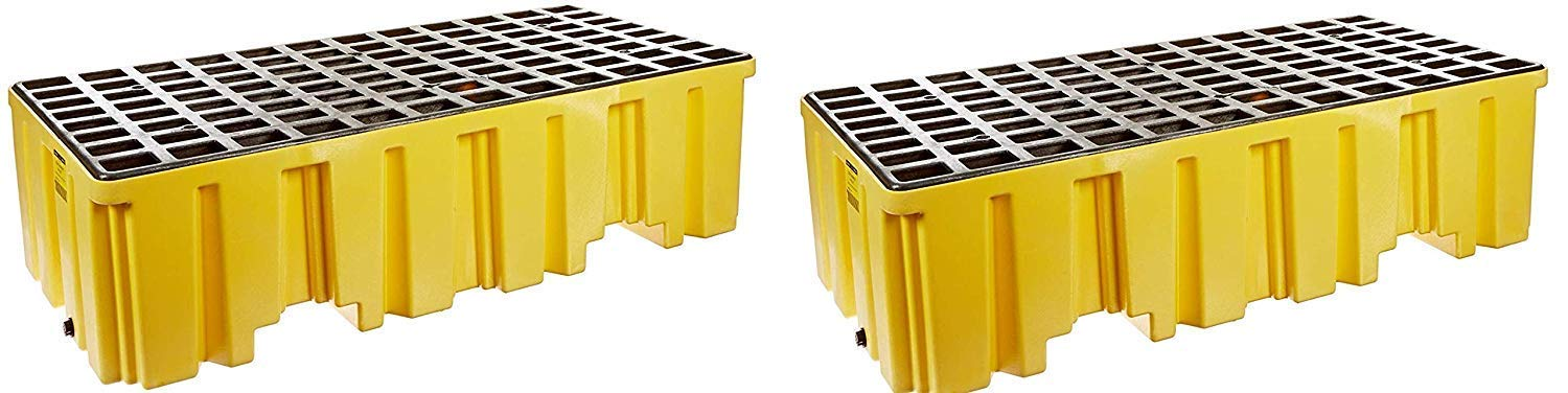 Eagle 1620 Yellow Polyethylene Two Drum Spill Pallet, 4000 lbs Load Capacity, 26.25'' Length, 51'' Width, 13.75'' Height (Pack of 2)