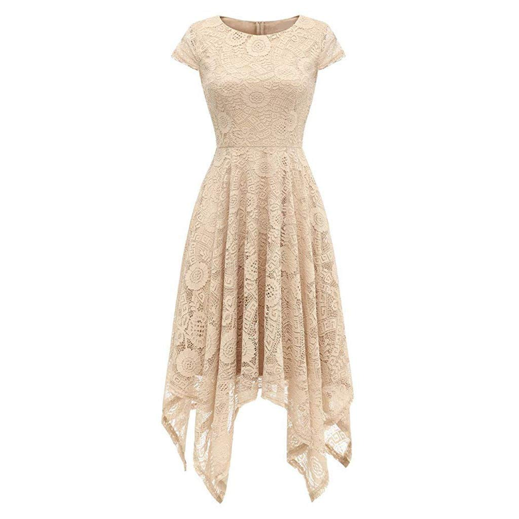Party Dress Toddler,Women's Vintage Lace Solid Spring Vintage Country Rock Cocktail Dress,Women's Indian Clothing,Beige,S